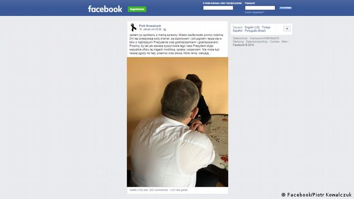 Screenshot Facebook Piotr Kowalczuk