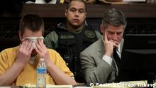 Former Chicago police Officer Jason Van Dyke reacts as he listens during his sentencing hearing with his attorney Daniel Herbert at the Leighton Criminal Court Building in Chicago,