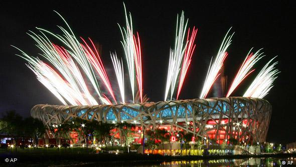Fireworks at the Olympic Stadium, Beijing