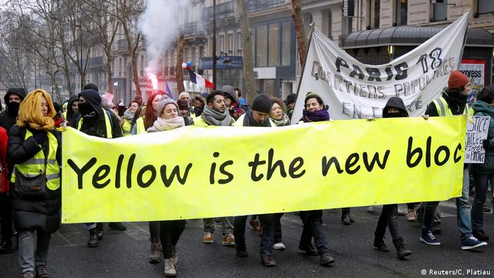 French 'yellow vests' protesters in action