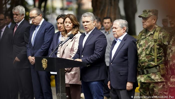 Colombian President Ivan Duque speaking after a bombing in Bogota