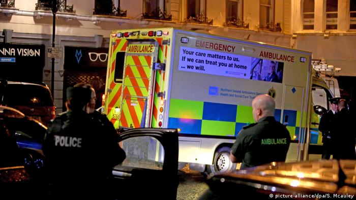 An ambulance responds to suspected car bombing in Londonderry