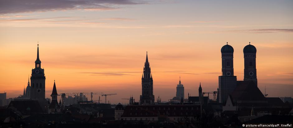 Munich skyline at dusk