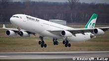 16.01.2019+++Düsseldorf, Deutschland+++ An Airbus A340-300 of Iranian airline Mahan Air takes off from Duesseldorf airport DUS, Germany January 16, 2019. Picture taken January 16, 2019. REUTERS/Wolfgang Rattay