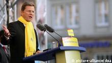 Guido Westerwelle während einer Wahlkampfveranstaltung in Magdeburg