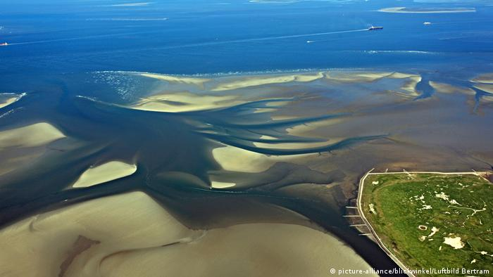 Neuwerk Island surrounded by Wadden Sea at low tide