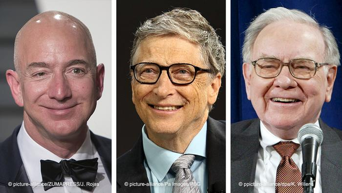 Jeff Bezos (l.), Bill Gates (M.) und Warren Buffet (r.)