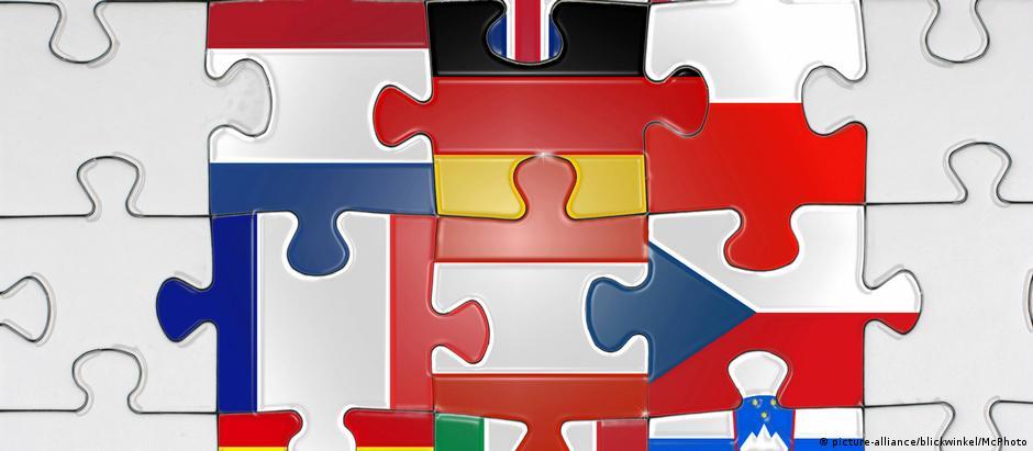 Puzzle mit Flaggen von EU-Ländern