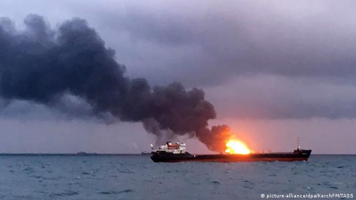 Ship on fire in the Kerch Strait