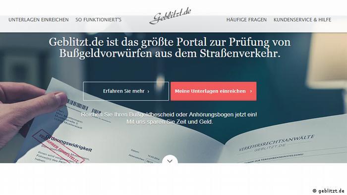 Screenshot der Internetseite www.geblitzt.de