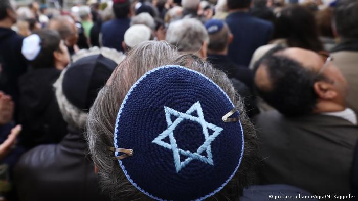 A man in Berlin wearing a kippah