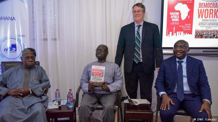 Former Nigerian President Olusegun Obasanjo, Professor Gyimah-Boadi of Afrobarometer, co-author Greg Mills and Ghanaian Vice President Mahamadu Bawumia at the book's presentation