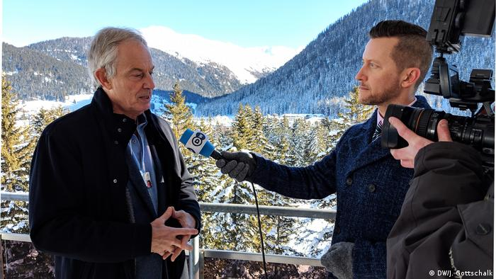 Tony Blair speaks with DW at the World Economic Forum in Davos, Switzerland (DW/J. Gottschalk)