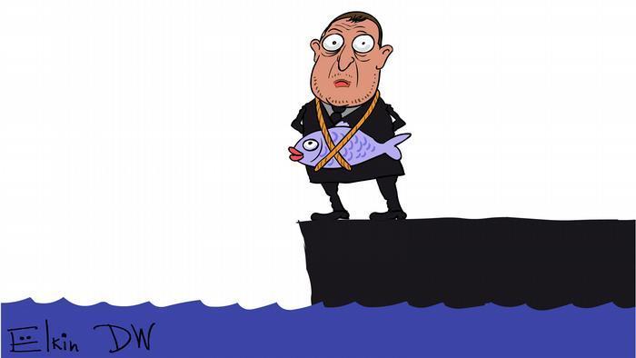 Caricature of Oleg Deripaska and Nastya Rybka by DW Cartoonist Sergey Elkin