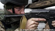 Ukraine Soldat in Schyrokyne