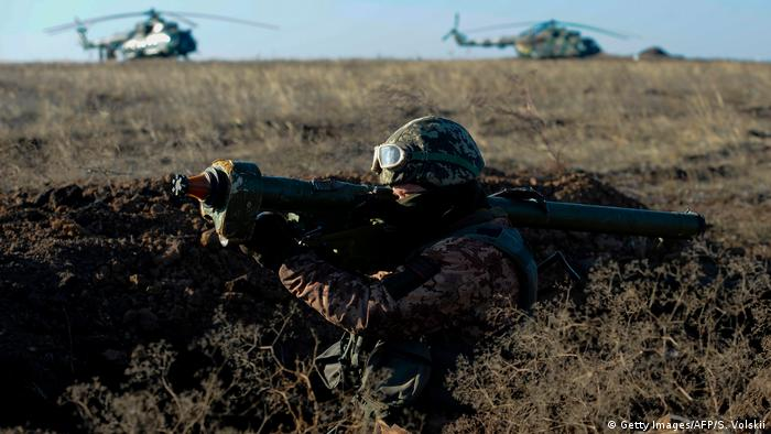 Украинский солдат на учениях