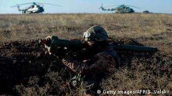 Военнослужащий ВСУ Украины на учениях под Мариуполем, 2018 год