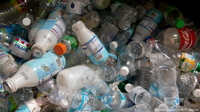 A close-up shot of empty plastic bottles