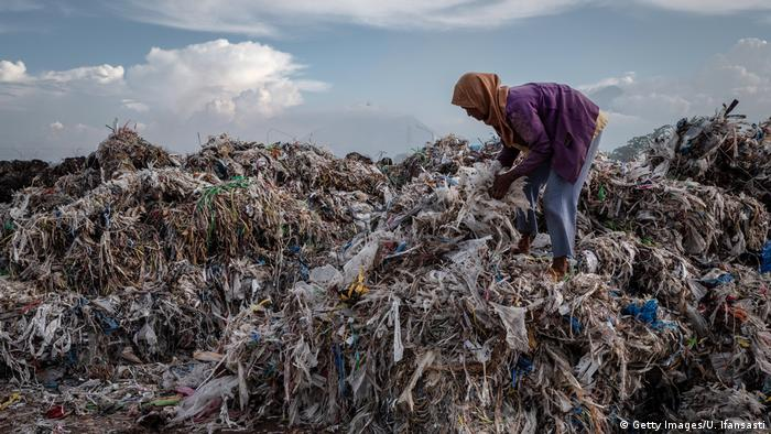 An imported plastic waste dump in Indonesia
