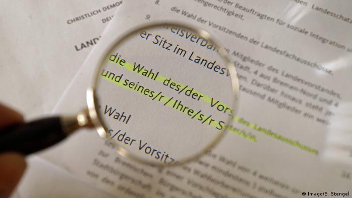 Gender-neutral formulations in a German-language political paper