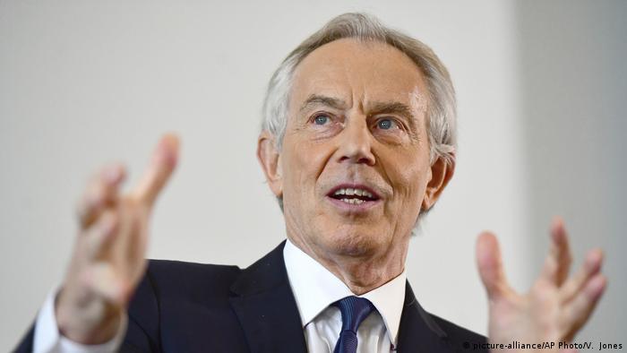 Tony Blair gesticulating while speaking