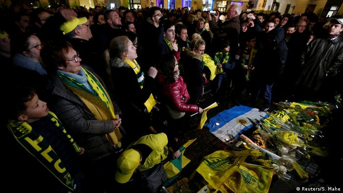 A vigil is held for the footballer Emiliano Sala