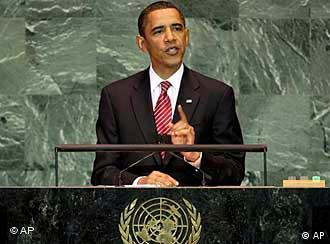 U.S. President Obama at the UN, standing at a lectern