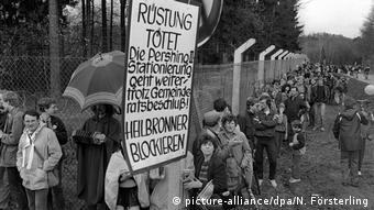 Deutschland Blockade des Pershing II Depots in Waldheide