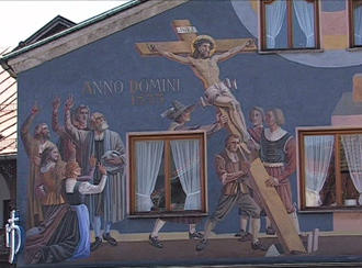 A scene from the Passion of Christ painted on the exterior of a building in Oberammergau
