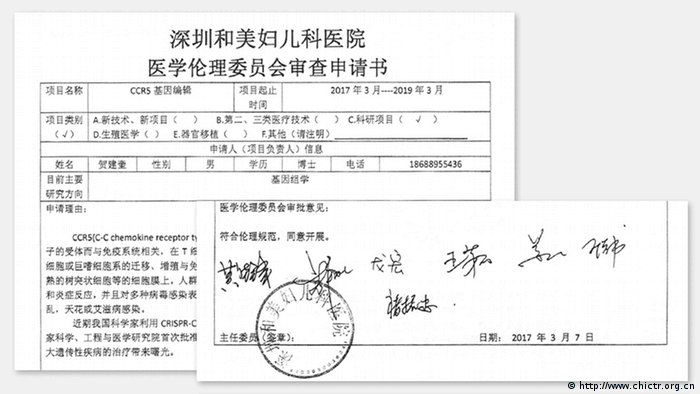 Prüfbericht des Ethic Commitee Forschungsvorhaben im chinesischen Studienregister