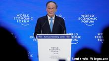 23.01.2019 *** Chinese Vice President Wang Qishan attends the World Economic Forum (WEF) annual meeting in Davos, Switzerland, January 23, 2019. REUTERS/Arnd Wiegmann