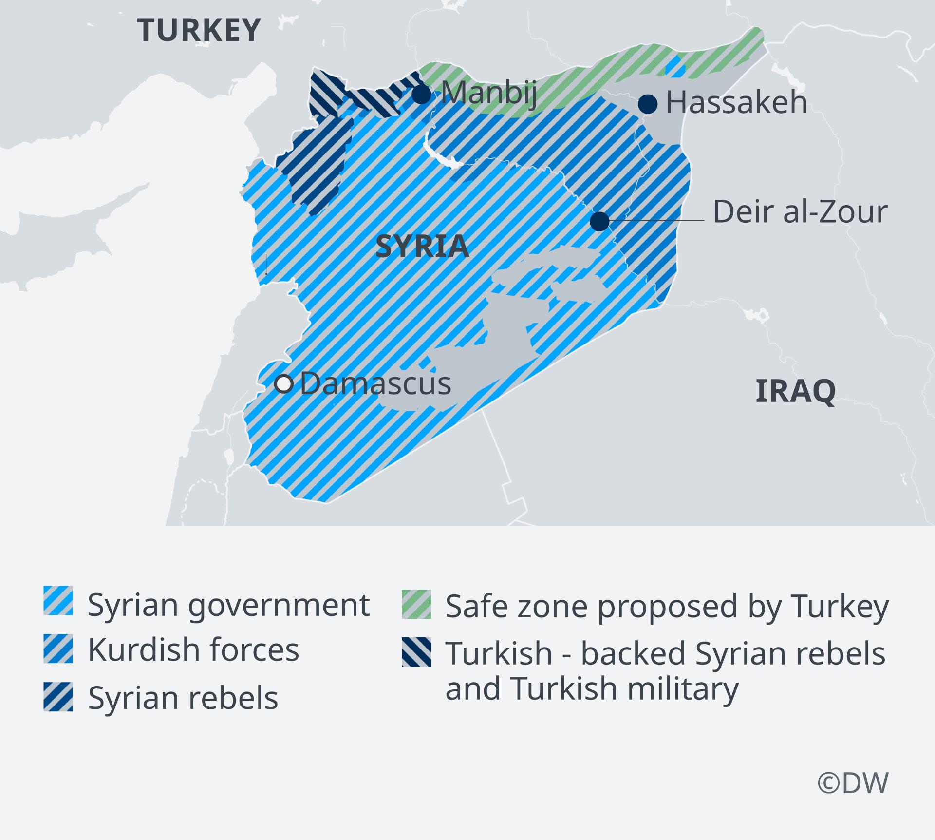 Infografik Karte Syrische Sicherheitszonen, ganz Syrien EN