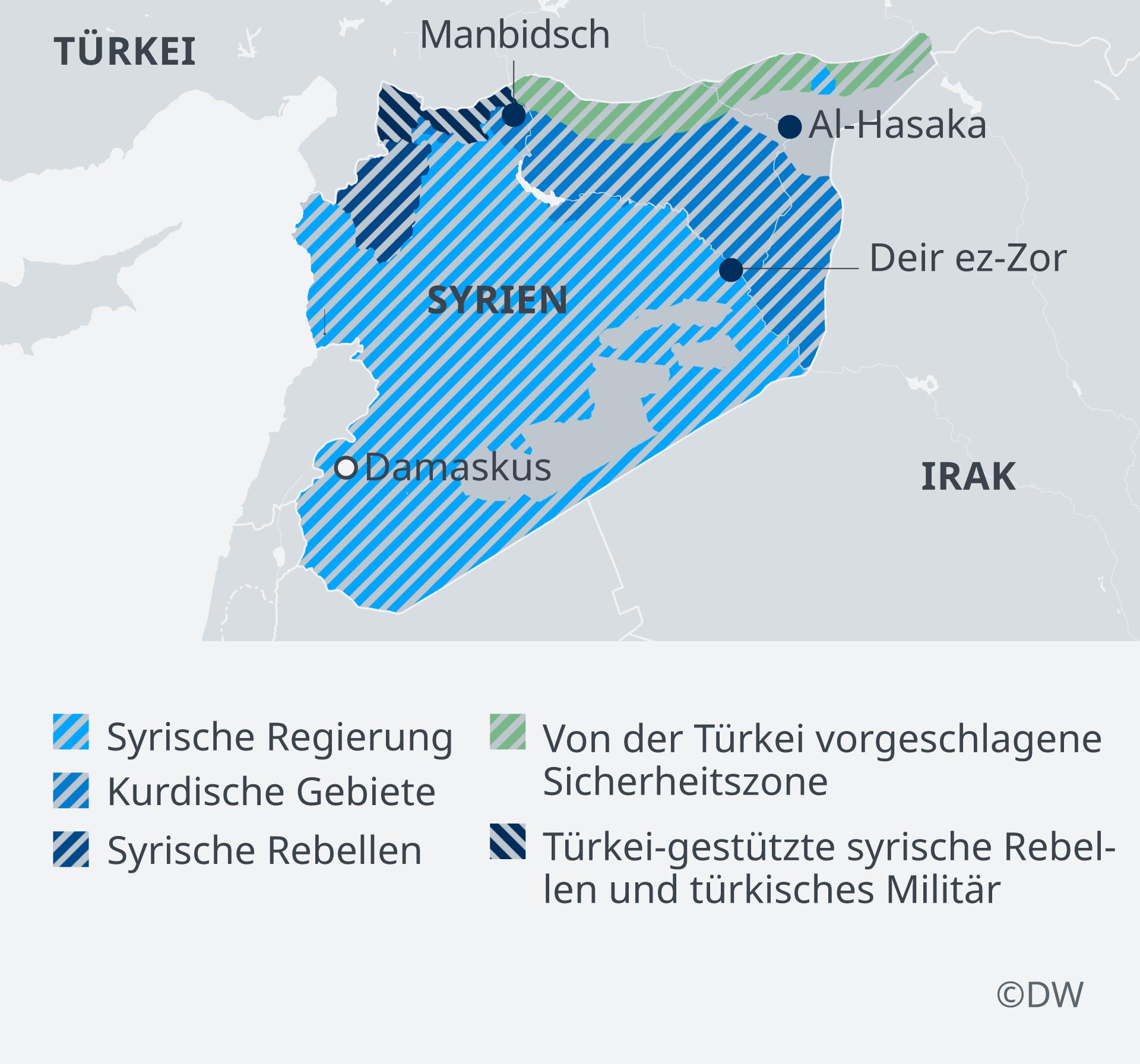 Infografik Karte Syrische Sicherheitszonen, ganz Syrien DE