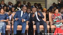 24.01.2019 Democratic Republic of Congo's outgoing President Joseph Kabila sits next to his successor Felix Tshisekedi during an inauguration ceremony whereby Tshisekedi will be sworn into office as the new president of the Democratic Republic of Congo at the Palais de la Nation in Kinshasa, Democratic Republic of Congo January 24, 2019. REUTERS/ Olivia Acland