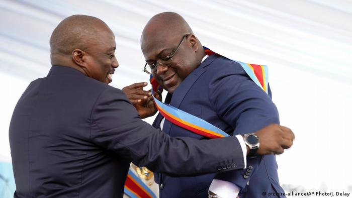 Former President Joseph Kabila and current President Felix Tshisekedi at the latter's inauguration