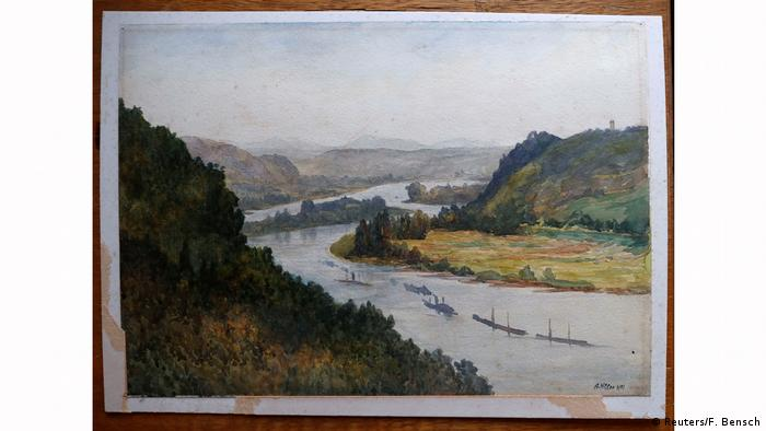 A watercolor attributed to Hitler shows boats going down the Rhine with hills in the background