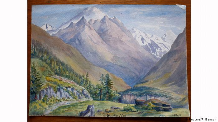 A mountain watercolor painting attributed to Adolf Hitler