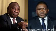 Links: South African President Cyril Ramaphosa addresses the Foreign Correspondents Association on November 1, 2018 at th Crown Plaza Hotel in Johannesburg, South Africa. (Photo by GIANLUIGI GUERCIA / AFP) (Photo credit should read GIANLUIGI GUERCIA/AFP/Getty Images) Rechts: Mozambiques President Filipe Nyusi delivers a speech during the Sustainable Blue Economy Conference at KICC in Nairobi, Kenya, on November 26, 2018. (Photo by Yasuyoshi CHIBA / AFP) (Photo credit should read YASUYOSHI CHIBA/AFP/Getty Images)