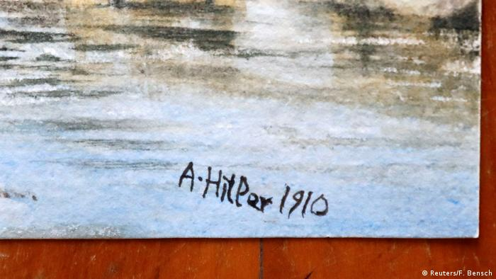The signature 'A. Hitler 1910' in black appears at the corner of a watercolor landscape painting