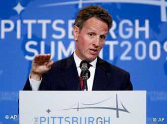 US-Finanzminister Timothy Geithner bei einem Pressegespräch vor dem G-20-Gipfel (Foto: AP)