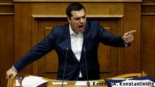 Greek Prime Minister Alexis Tsipras addresses lawmakers during a parliamentary session before a vote on an accord between Greece and Macedonia changing the former Yugoslav republic's name in Athens, Greece, January 24, 2019. REUTERS/Alkis Konstantinidis