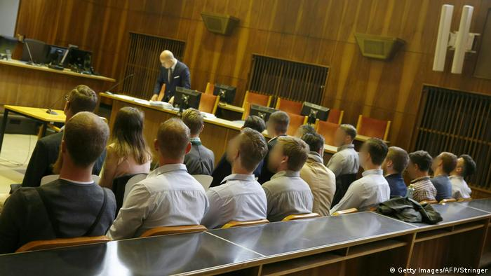 14 members of the 'Staatenbunds' seated before the Austrian regional court in Graz(Getty Images/AFP/Stringer)