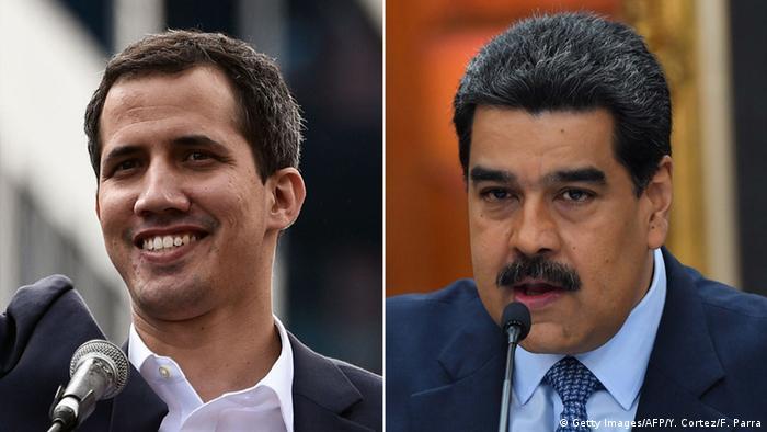 Kombibild Venezuela Maduro und Guaido (Getty Images/AFP/Y. Cortez/F. Parra)