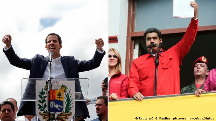 Nicolas Maduro and Juan Guaido speaking to crowds