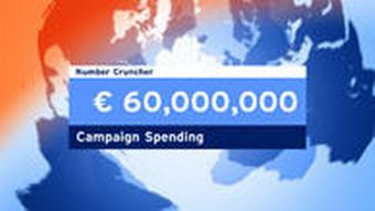 A Deutsche Welle TV graphic dispalying the figure 60 million euros.