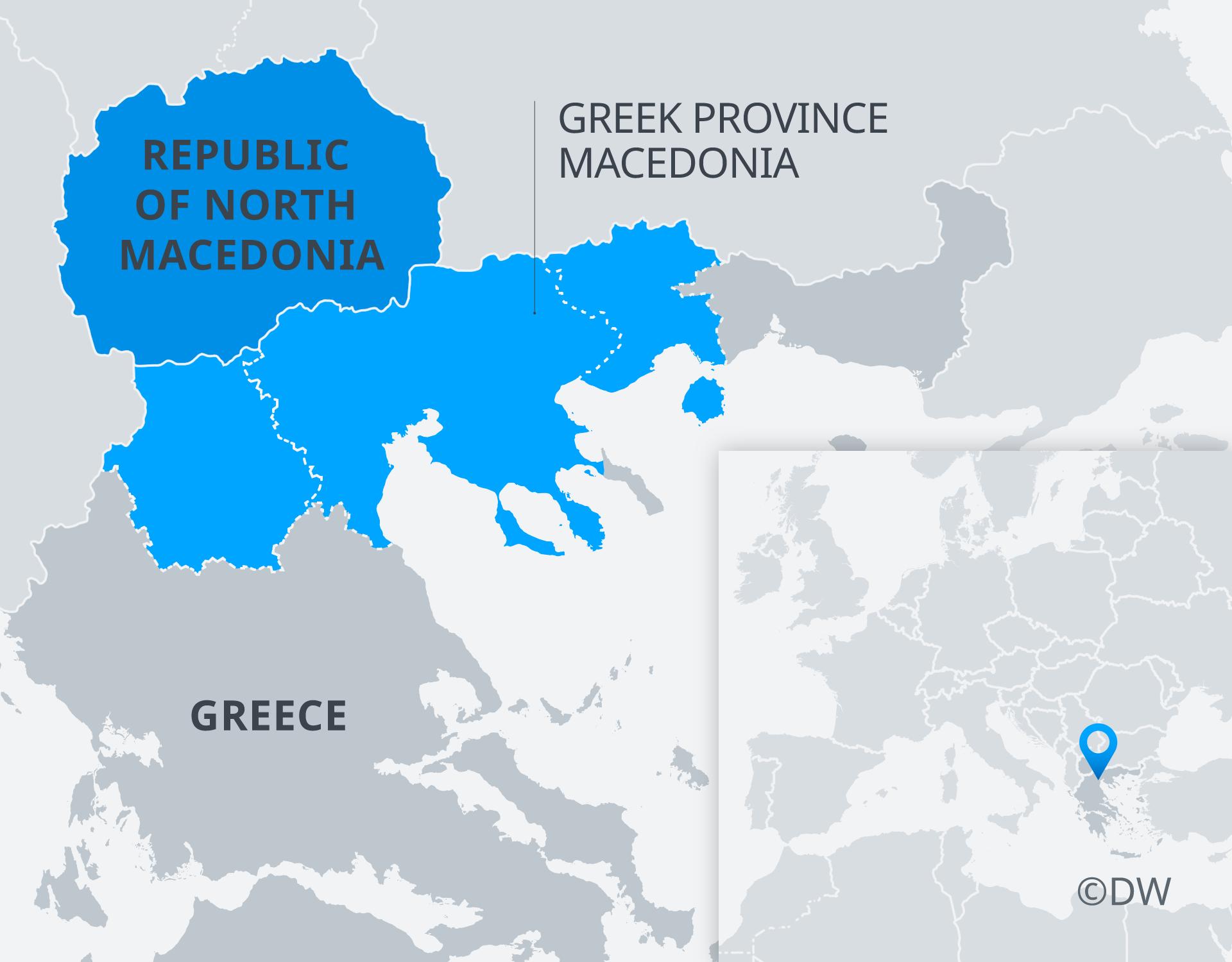 Karte Land und Provinz Mazedonien EN