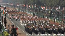 Indian Paramilitary soldiers march past Rajpath, the ceremonial boulevard, during Republic Day parade in New Delhi, India, Saturday, Jan. 26, 2019. Thousands of Indians have converged on a ceremonial boulevard to watch a display of the country's military power and cultural diversity amid tight security during national day celebrations. (AP Photo/Manish Swarup) |