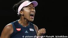 26.01.2019 Japan's Naomi Osaka reacts after winning the first set against Petra Kvitova of the Czech Republic during the women's singles final at the Australian Open tennis championships in Melbourne, Australia, Saturday, Jan. 26, 2019. (AP Photo/Mark Schiefelbein) |
