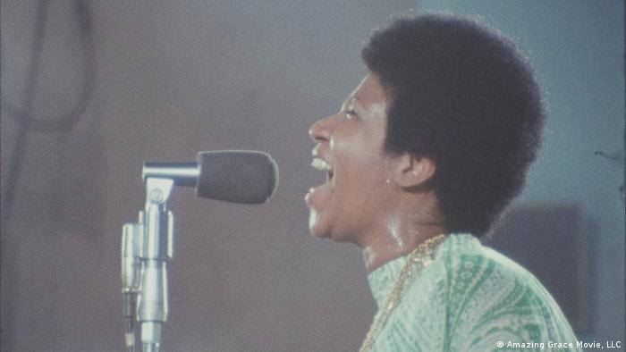 A gospel singer portrays Aretha Franklin in Amazing Grace (Amazing Grace Movie, LLC)