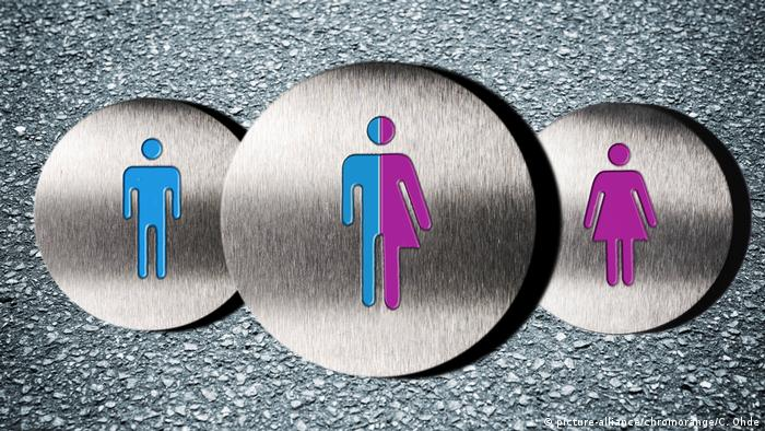 A pictogram of a man, a woman, and intersexual person